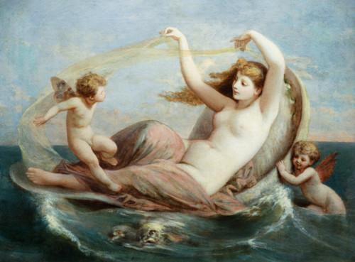The Birth of Venus by Henri Pierre Picou Интересно, кто эти крылатые малыщи.  Если считать того, что с бабочкой...
